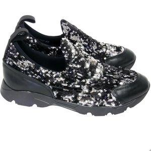 MM6 Maison Margiela Black Laceless Sequin Sneakers